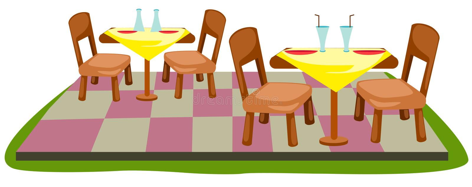 Table and chairs. Illustration of isolated table and chairs on white background stock illustration