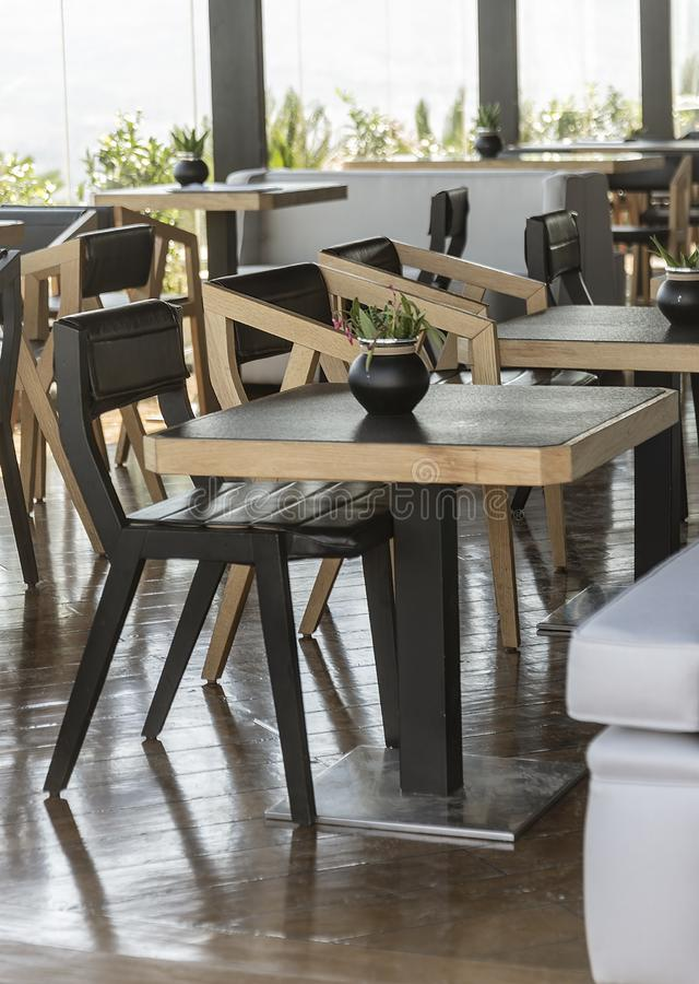 Table with chairs in a cafe stock image