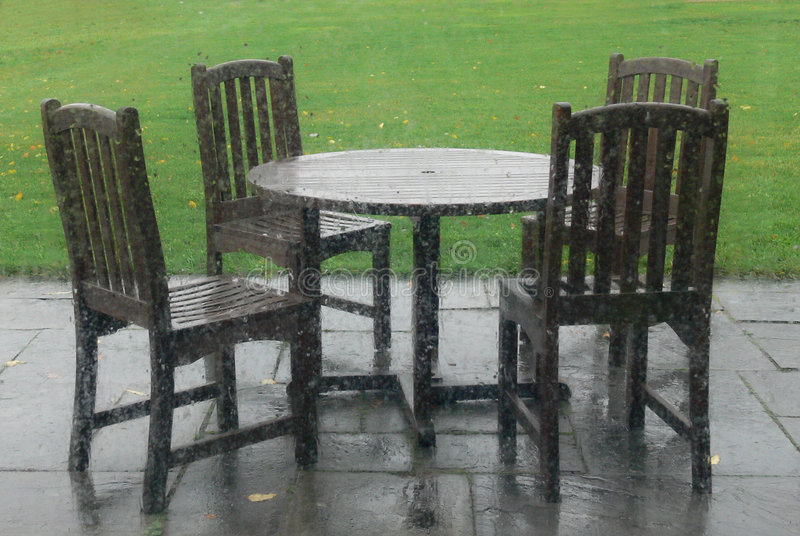 Table and Chairs on an empty patio on a rainy day