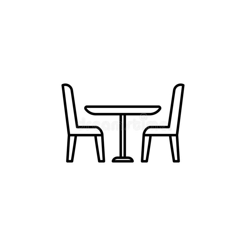 table and chairs icon. Element of furniture for mobile concept and web apps. Thin line icon for website design and development, a stock illustration