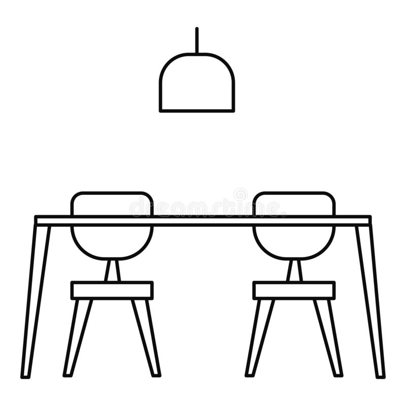 Table and chairs icon, outline style. Table and chairs icon. Outline illustration of table and chairs vector icon for web design isolated on white background vector illustration