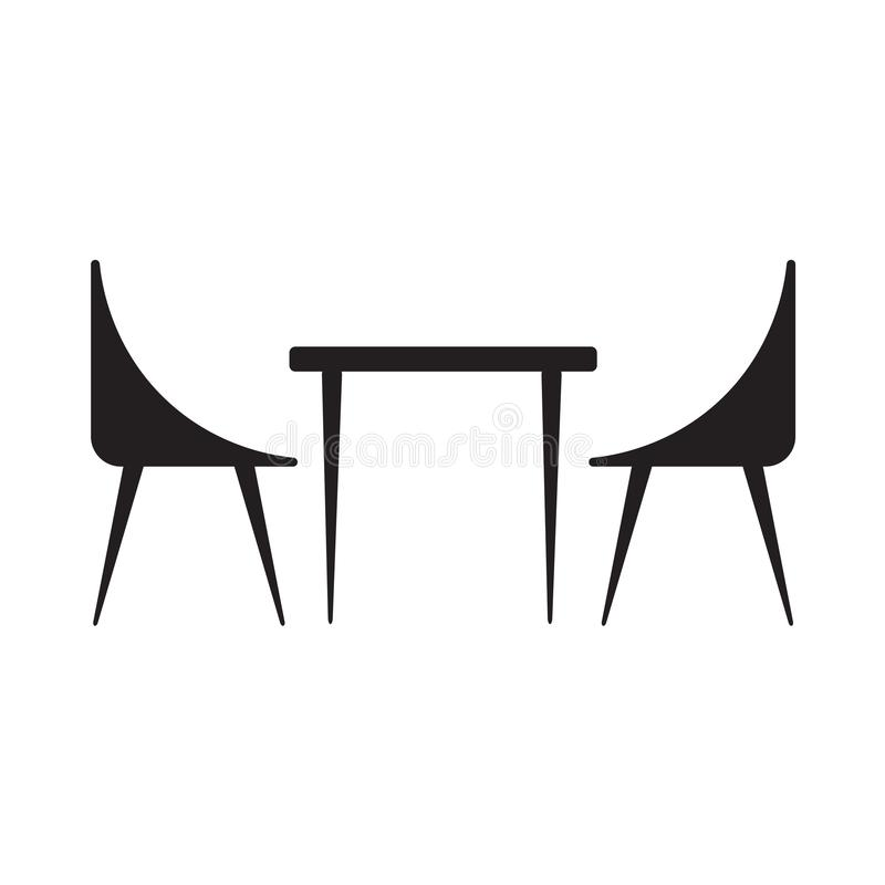 Table and chairs icon stock illustration