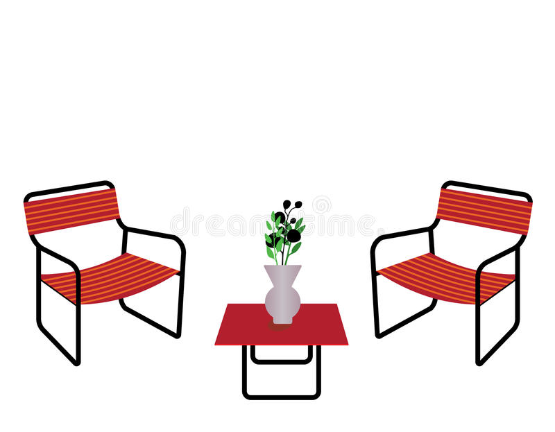 Table and chairs. Orange table and chairs with flower vase isolated on white background royalty free illustration