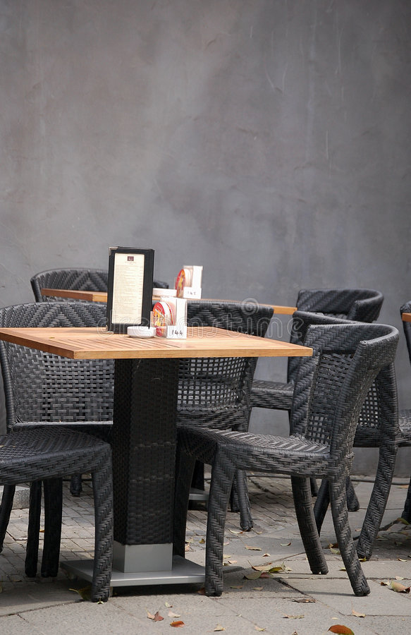 Table and chairs, outdoor bar royalty free stock photography