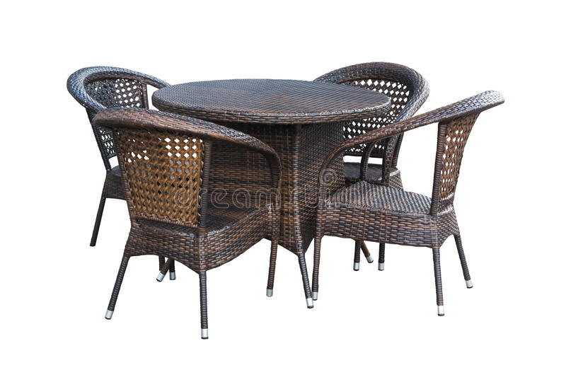 Table, chairs outdoors on white royalty free stock photo