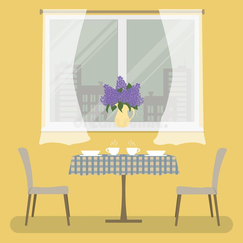A table with a checkered tablecloth and two beige chairs on a window background. Yellow room. There is a vase with lilacs on the windowsill. Vector stock illustration