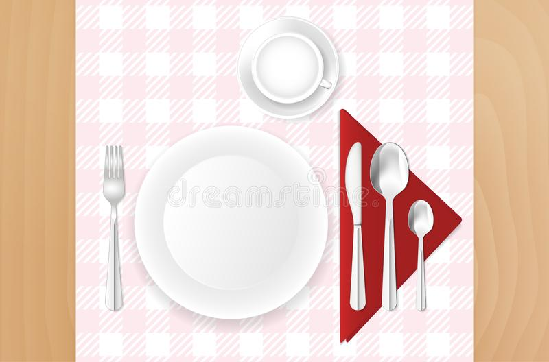 Table, cloth, plate, cup and stainless cutlery vector illustration