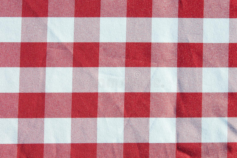 Table Cloth Red Checkered Pattern Stock Image