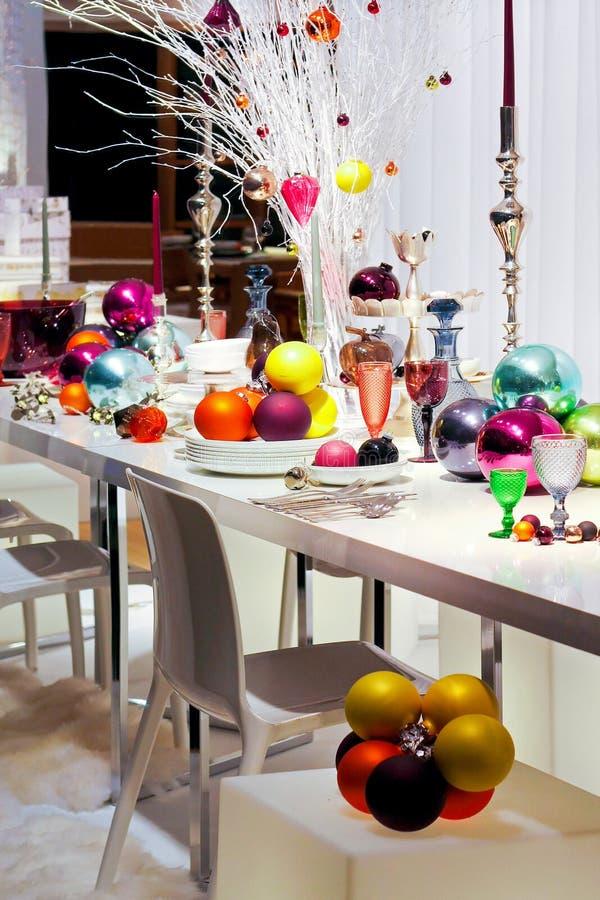 Table colorée de Noël images stock