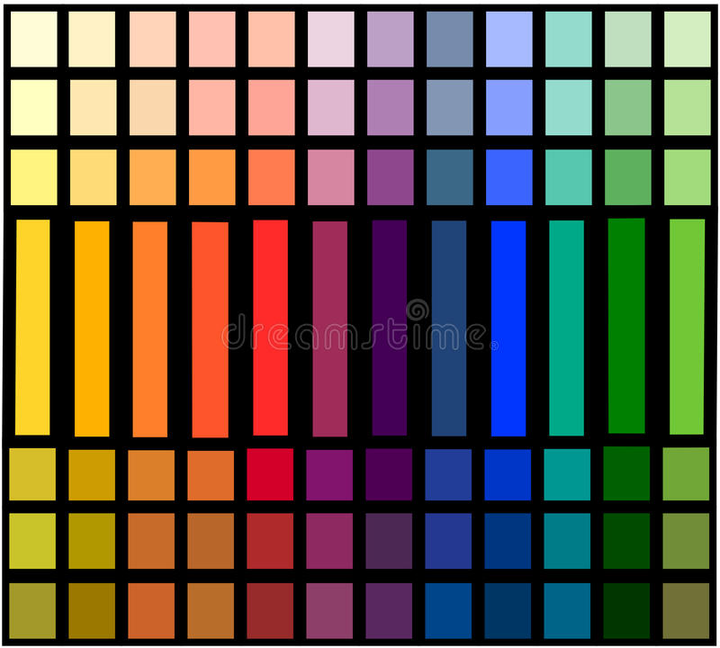 Table of color gradation stock image