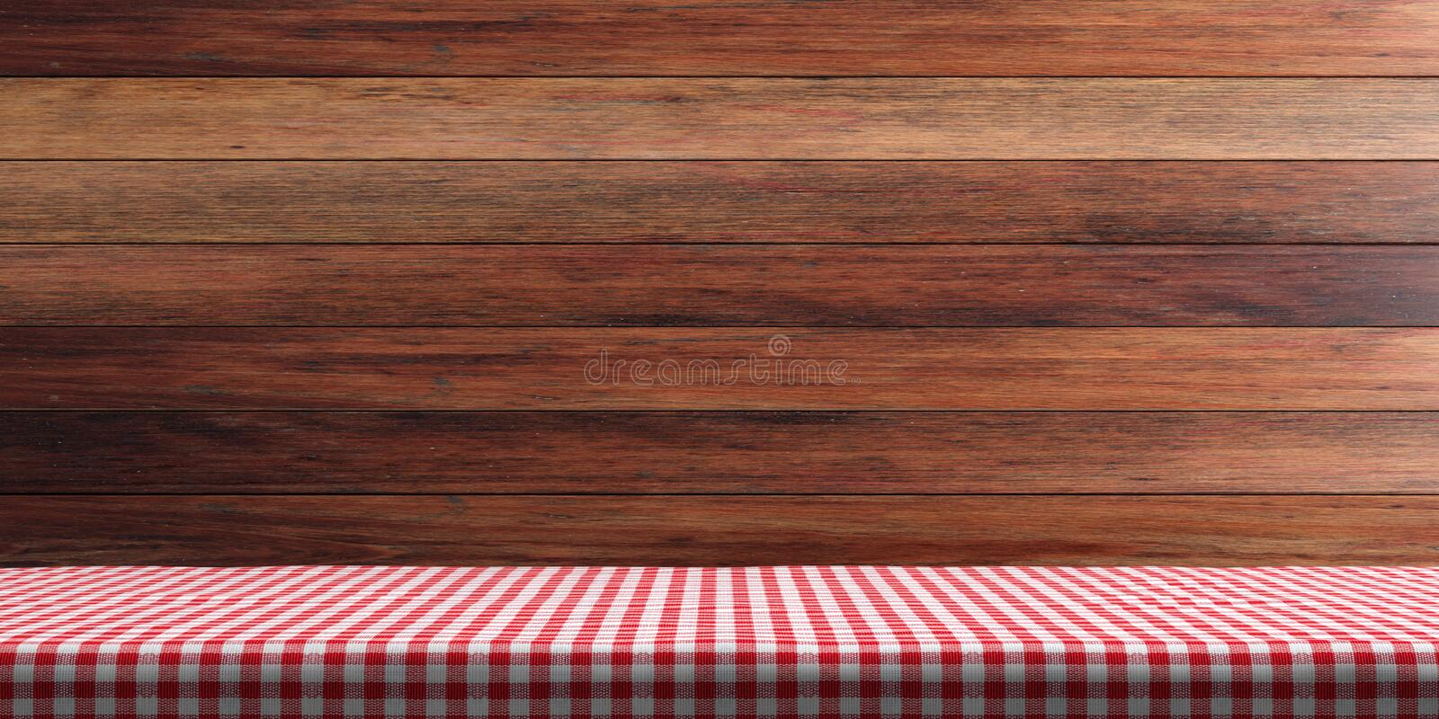 Table covered with red tablecloth on wooden wall background, copy space. 3d illustration royalty free illustration