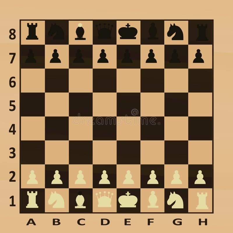 Table d'échecs, vue supérieure illustration de vecteur