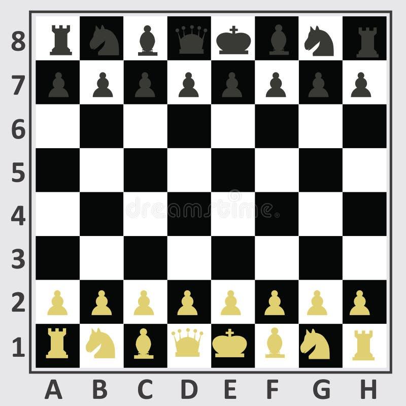 Table d'échecs, vue supérieure illustration libre de droits