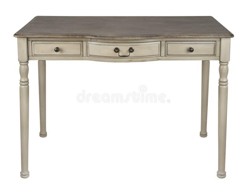 Table d'écriture en bois de vintage d'isolement sur le fond blanc photos stock