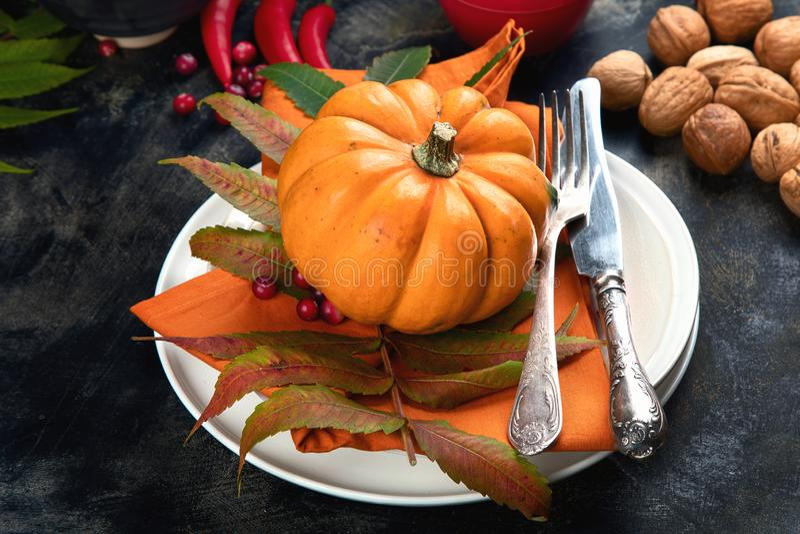 Table d'automne avec citrouilles photo libre de droits