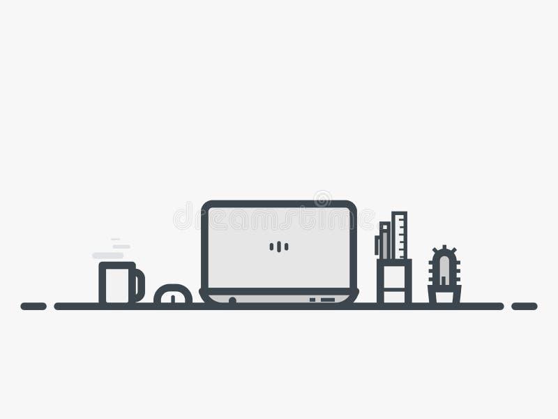 Table d'espace de travail avec l'ordinateur portable illustration libre de droits