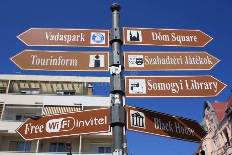 Table d'infos dans Szeged, Hongrie, région de Csongrad photographie stock libre de droits