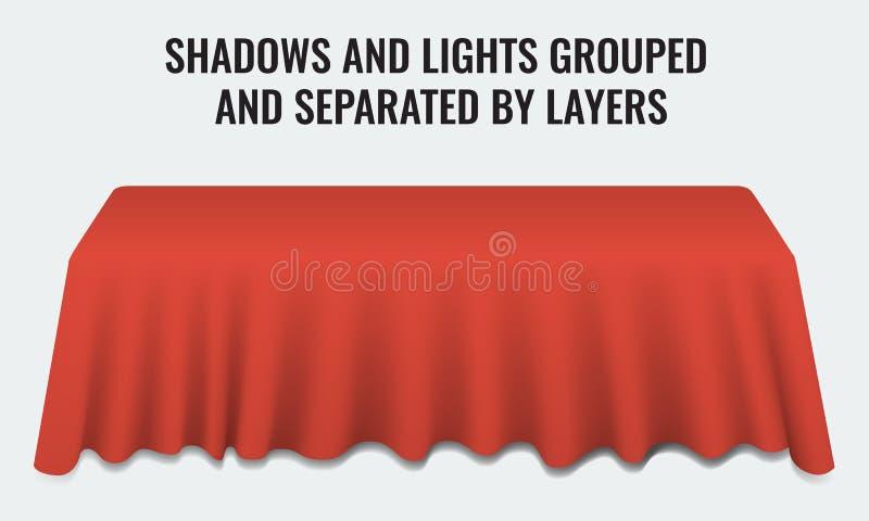 Table de banquet vide de dîner avec le bureau réaliste rouge du tissu 3d illustration libre de droits