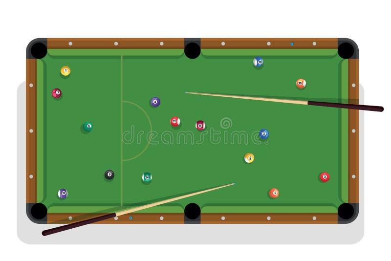 Table de billard, bâton de billard et boules de billard pour le jeu Table de billard avec les boules colorées et la vue supérieur illustration stock