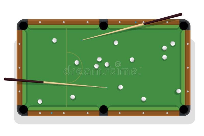 Table de billard, queue et boules de piscine pour le jeu Table de billard avec les boules blanches et la vue supérieure du cua de illustration stock