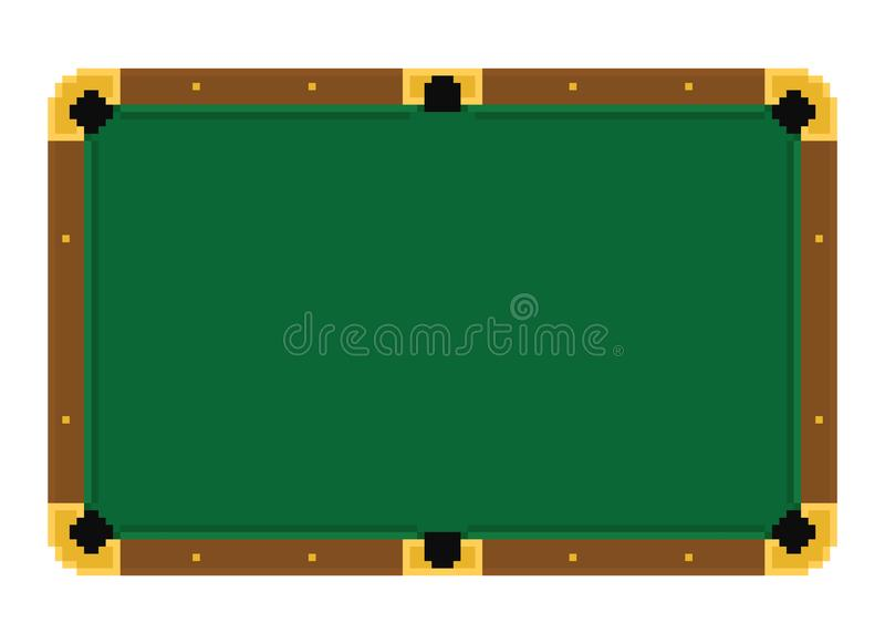 Table de billard verte vide d'art de pixel sur un fond blanc illustration stock