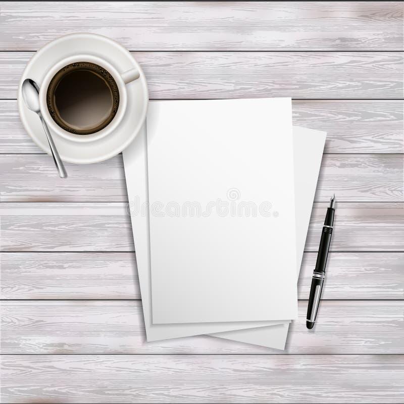 Table de bureau avec le papier de feuille, la tasse de café et le stylo vides illustration de vecteur