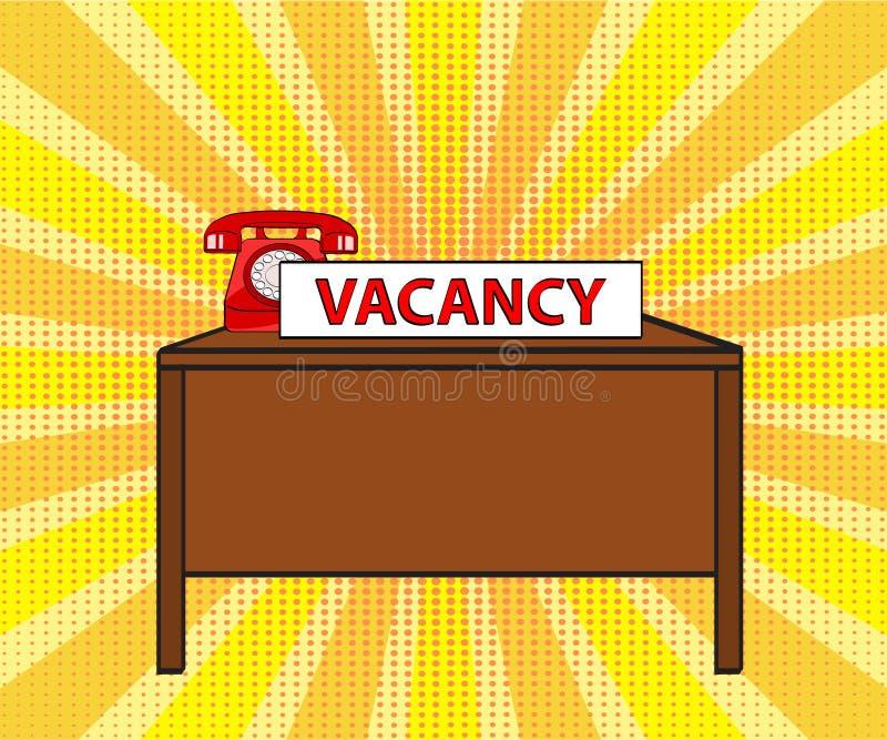 Table de bureau, vieux téléphone rouge et carte avec l'offre d'emploi de mot sur le stripp illustration stock