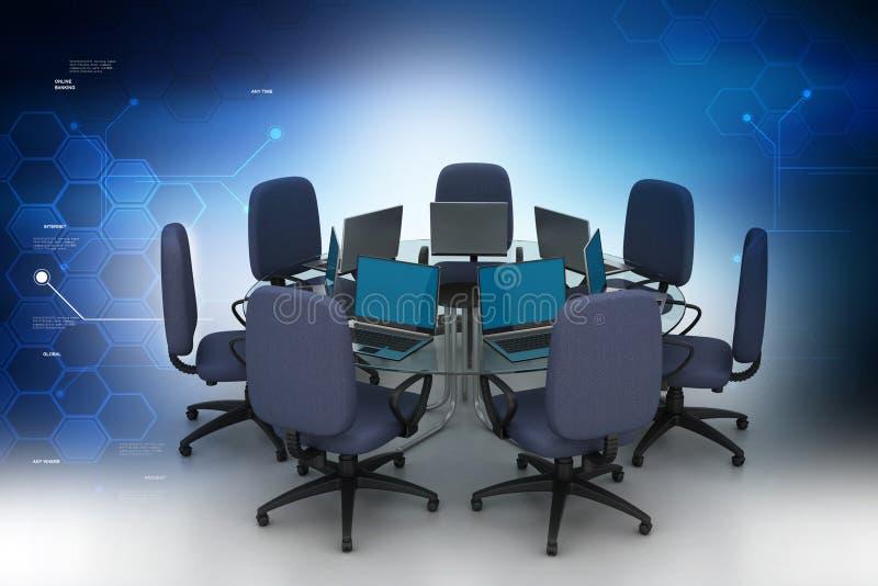 Table de conférence avec des ordinateurs portatifs illustration libre de droits