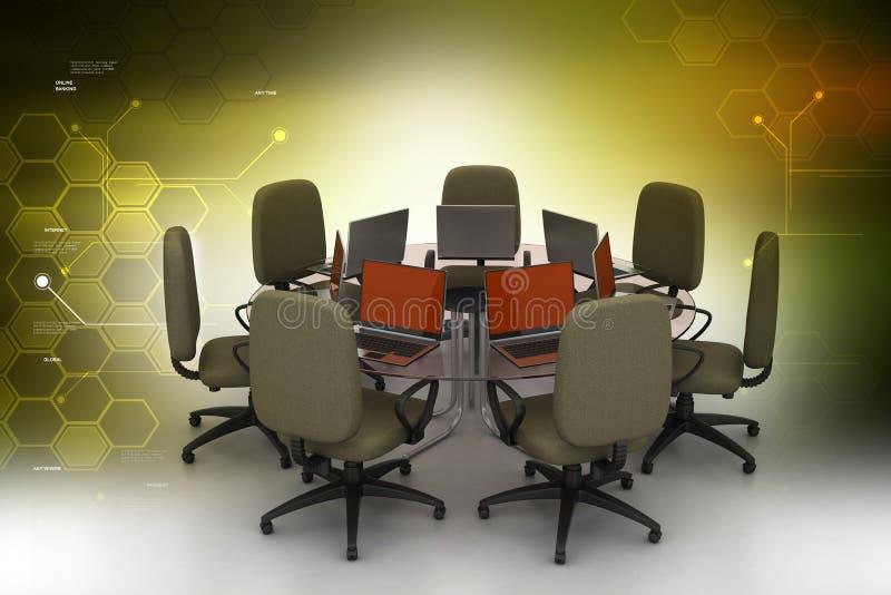 Table de conférence avec des ordinateurs portatifs illustration stock