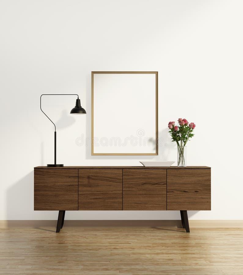 Table de console sur le plancher en bois