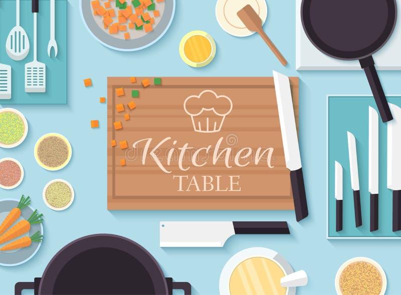 Table de cuisine plate pour faire cuire dans le vecteur de maison illustration stock