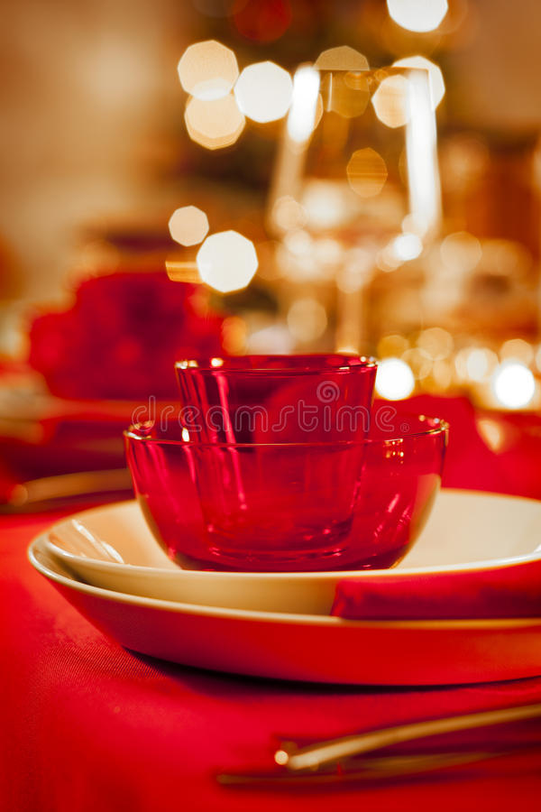Table de dîner vide de Noël photographie stock