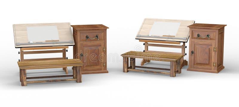 table de dessin en bois avec le banc et coffret chemin de coupure comprenant illustration stock. Black Bedroom Furniture Sets. Home Design Ideas