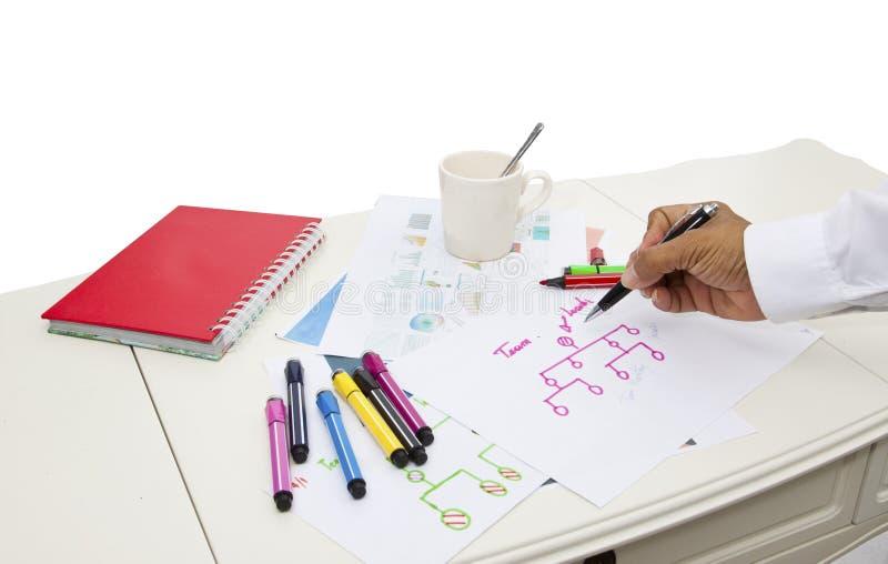 Table de fonctionnement de petit groupe d'équipe d'affaires et de réunion de plan images libres de droits