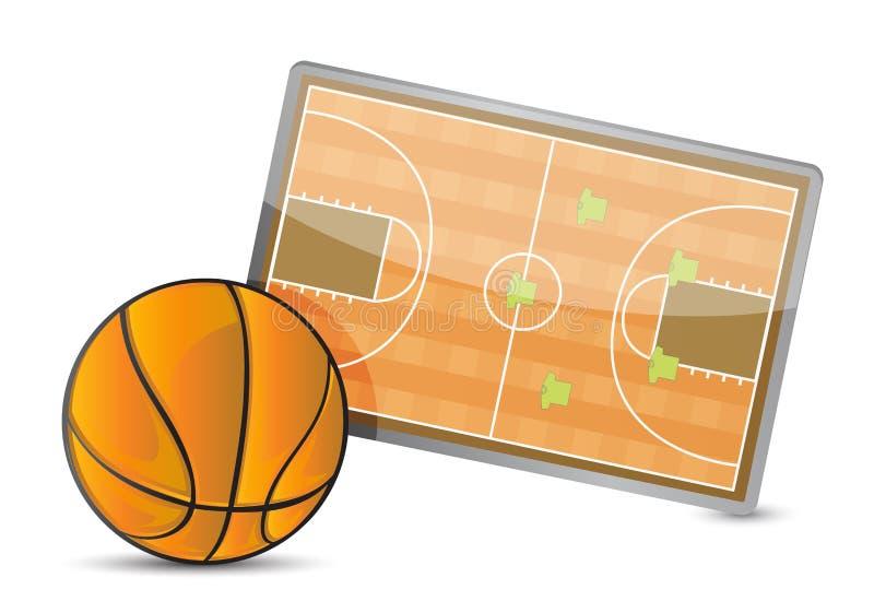 Table de la tactique de champ de basket-ball, boules de basket-ball illustration de vecteur
