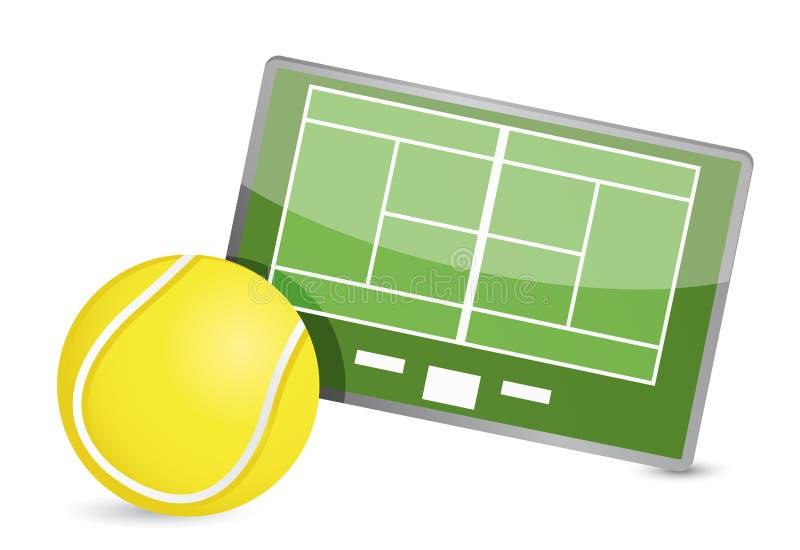 Table de la tactique de champ de tennis, balles de tennis illustration libre de droits
