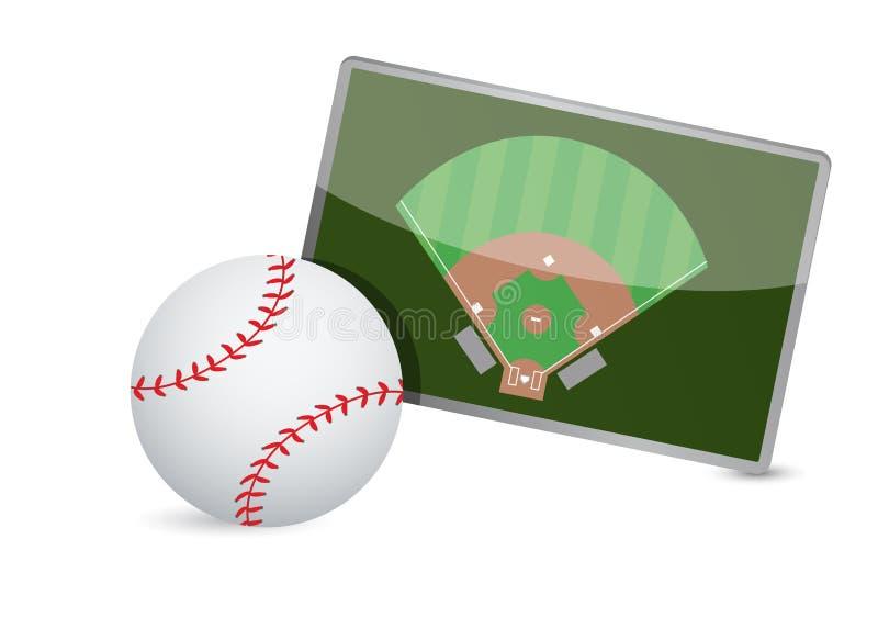 Table de la tactique de terrain de base-ball, boules de base-ball illustration de vecteur
