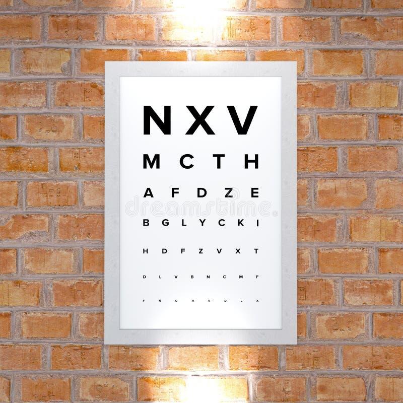 Table de mesure de vue Cadre accrochant sur un mur de briques Examen de vue Lettres dans les caractères gras Essai d'oeil illustration libre de droits