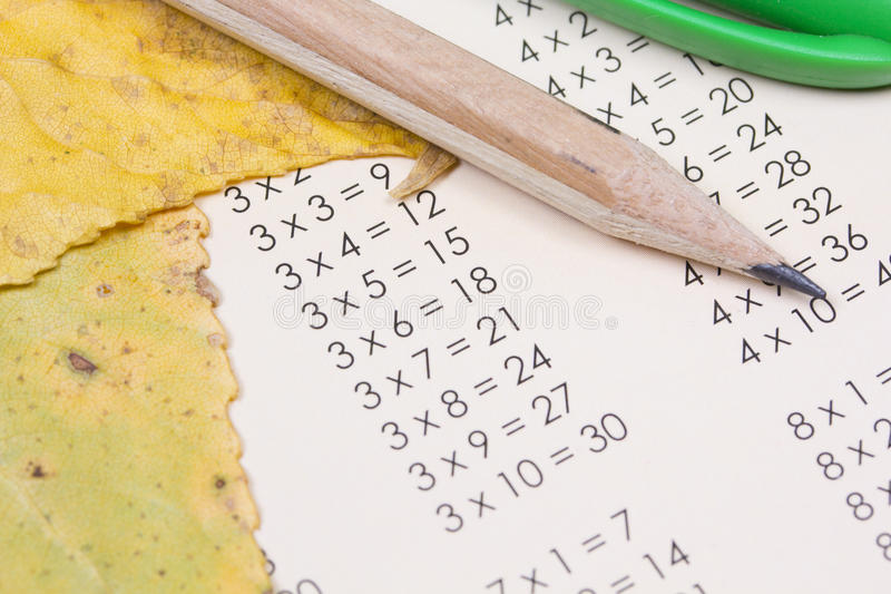 Table de multiplication photographie stock libre de droits