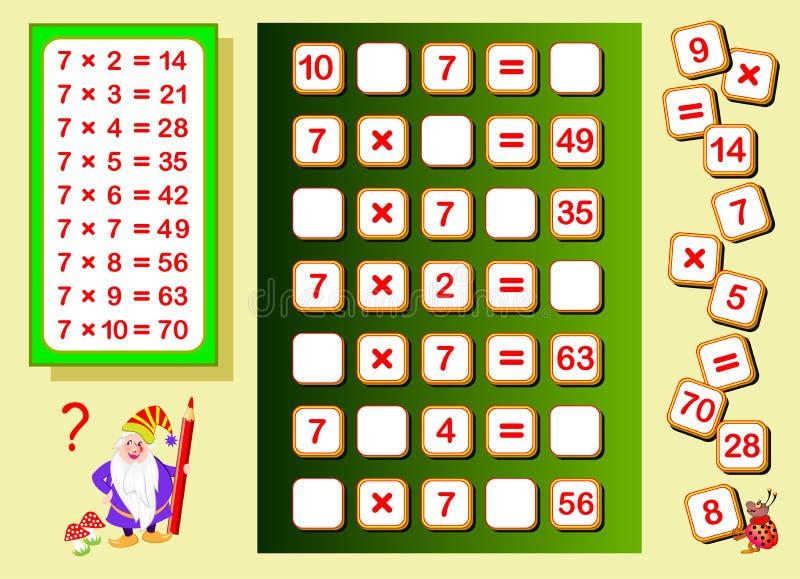 Table de multiplication par 7 pour des enfants Endroits de découverte pour des nombres en baisse et les écrire Page éducative pou illustration stock