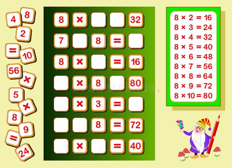 Table de multiplication par 8 pour des enfants Endroits de d?couverte pour des nombres en baisse et les ?crire Page ?ducative pou illustration libre de droits