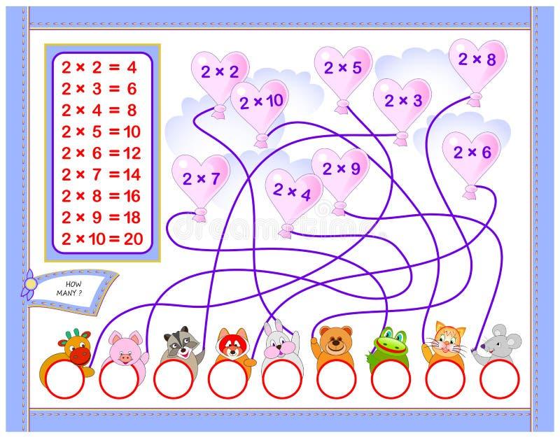 Table de multiplication pour des enfants Écrivez les nombres dans les cercles corrects Page éducative pour le livre de bébé de ma illustration stock