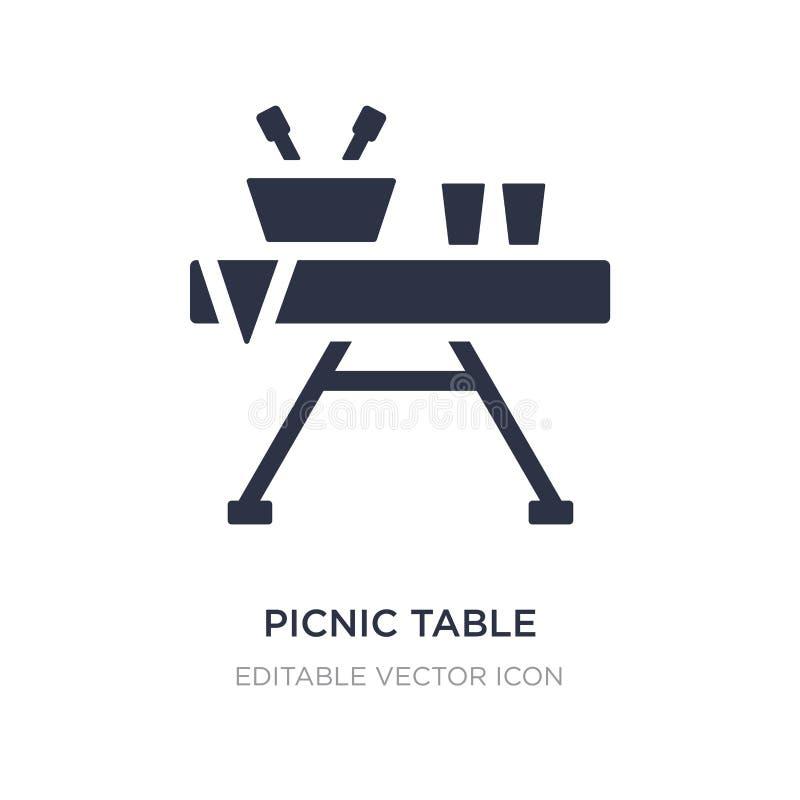 table de pique-nique avec l'icône de panier sur le fond blanc Illustration simple d'élément de notion générale illustration stock
