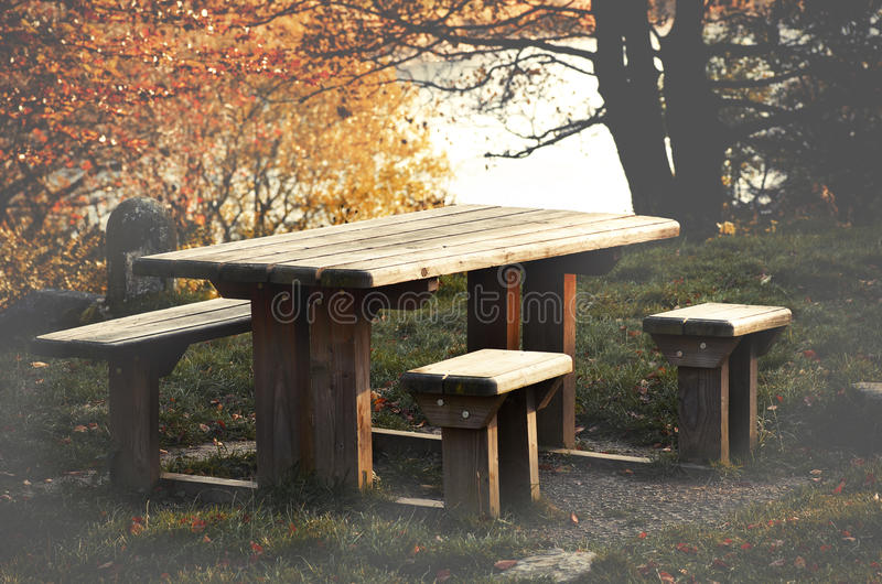 Table de pique-nique, couleurs automnales des arbres au secteur maximal, colombes photos libres de droits