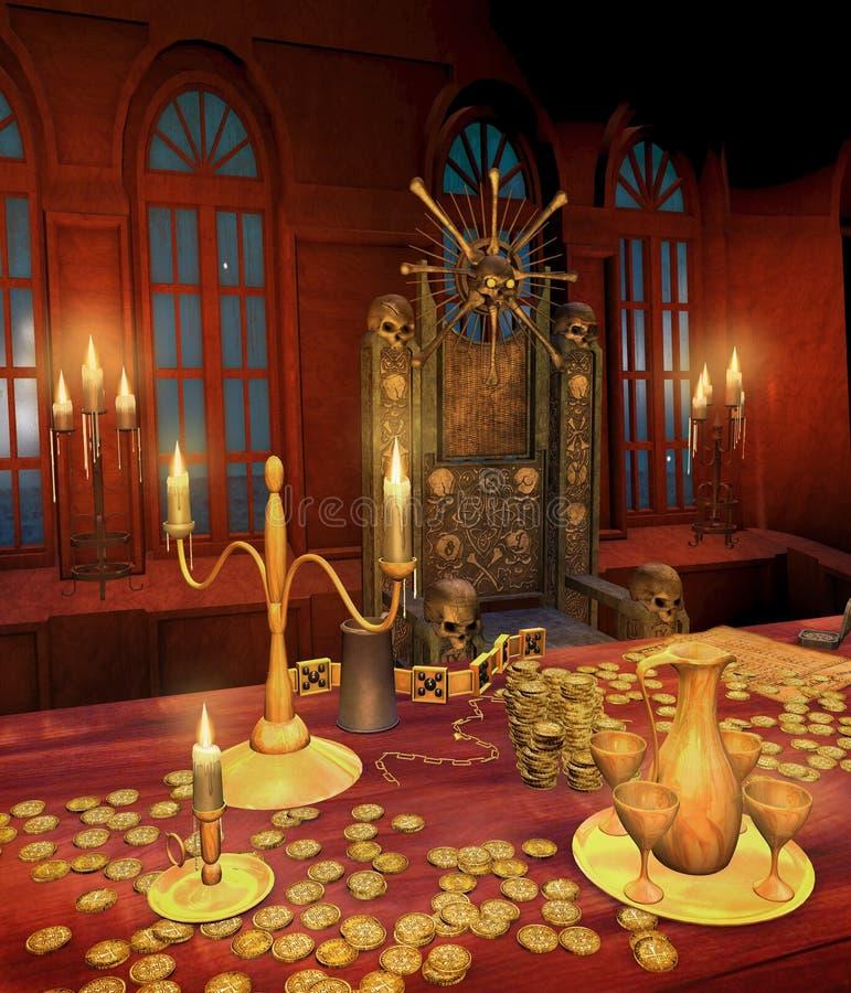 Table de pirate avec des trésors illustration stock
