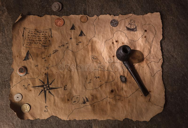 Table de pirate, intérieur de cabine de capitaine image libre de droits