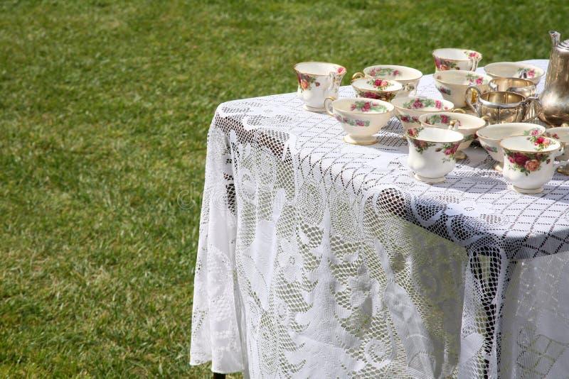 Table de réception de thé images stock