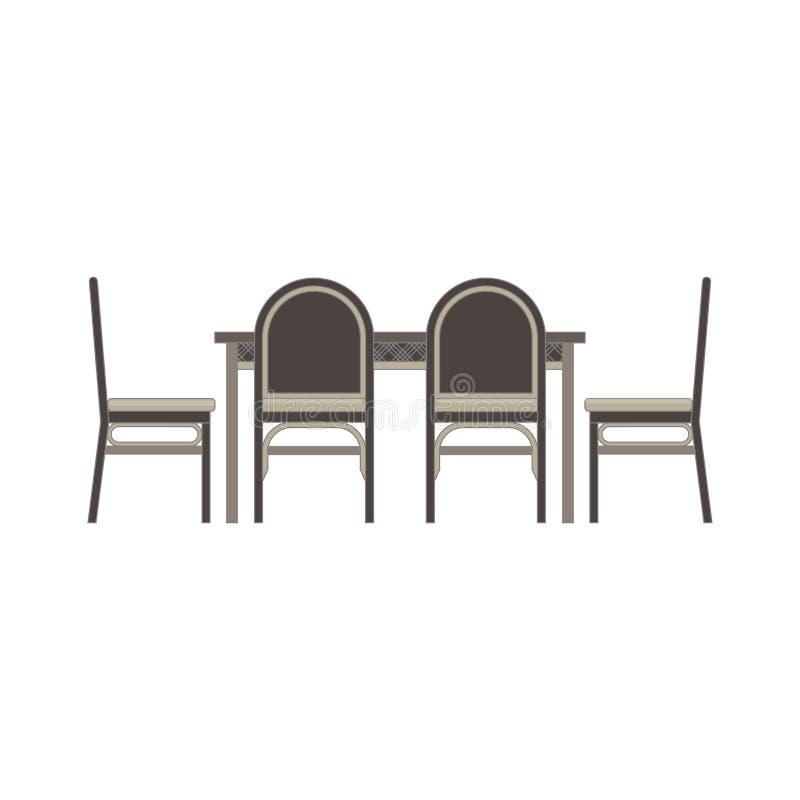 Table de salle à manger, appartement monochrome de vue de côté de chaises dans le thème gris de couleur illustration de vecteur