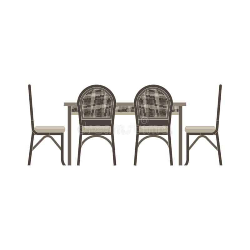 Table de salle à manger, appartement monochrome de vue de côté de chaises dans le thème gris de couleur illustration stock