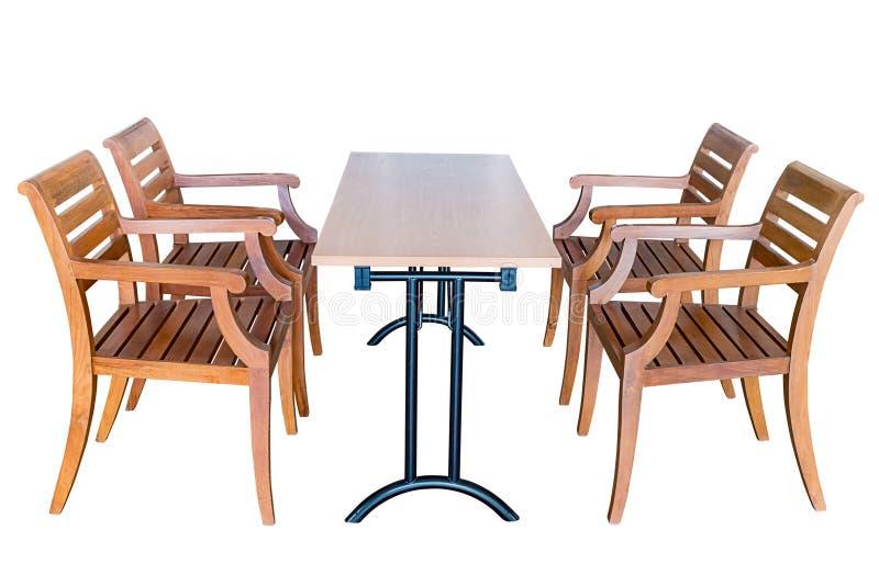 Table de salle à manger et chaises en bois image libre de droits